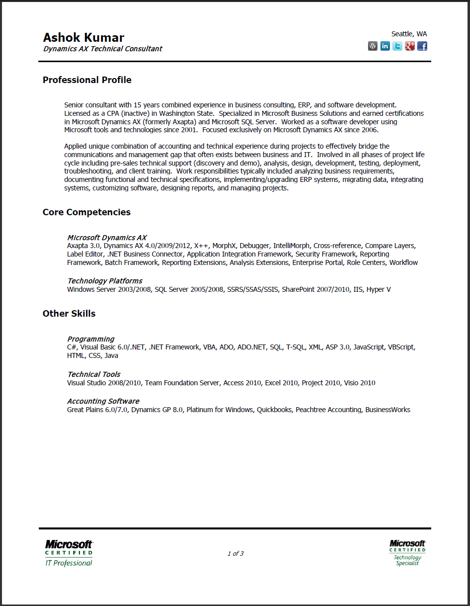 2 page resume format staple
