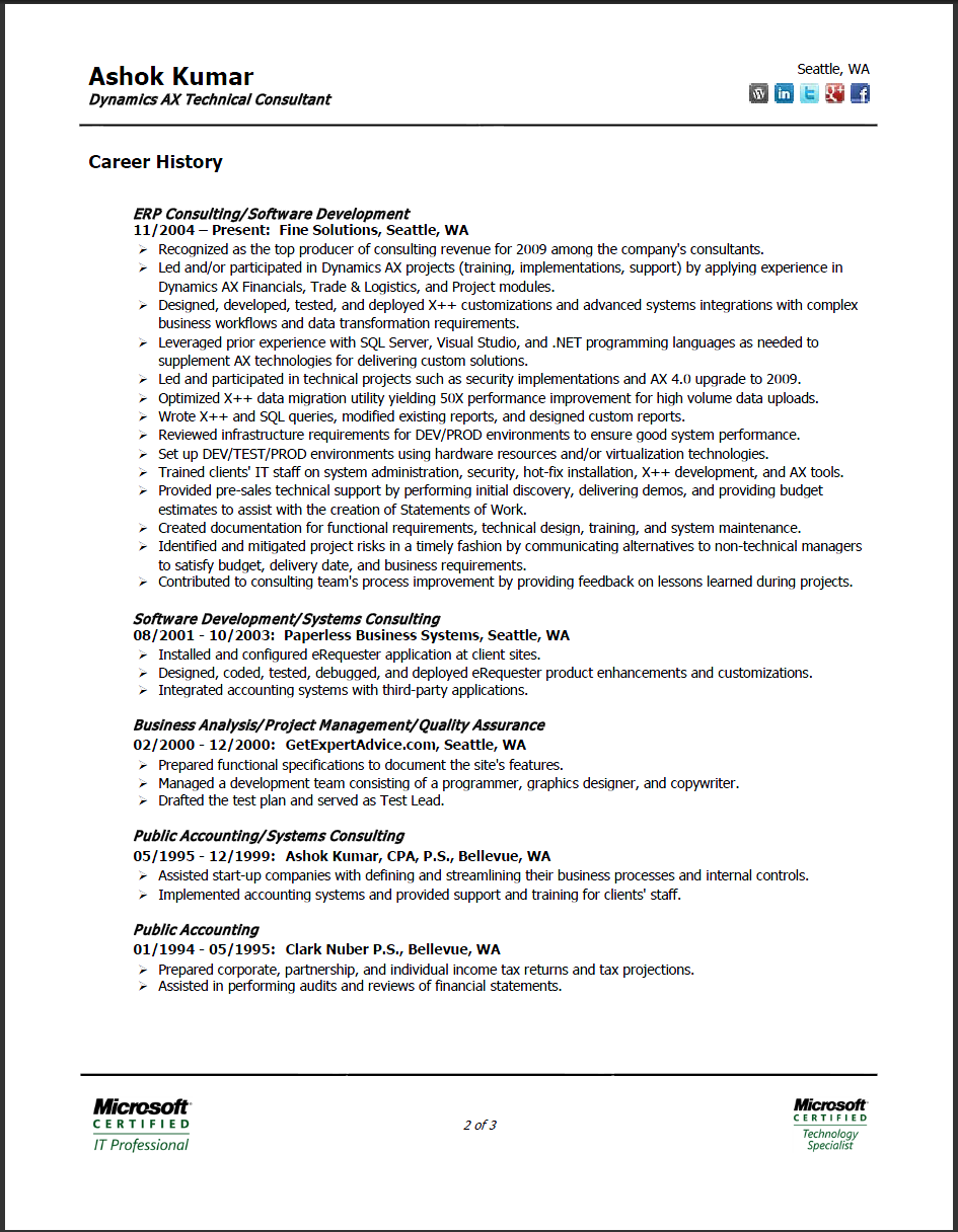2 Page Resume Ashok Kumar Resume Page 2 Accounting Bookkeeping ...